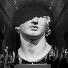face of a statue at the metropolitan museum of art