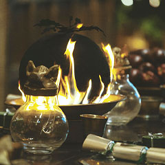 cauldron with flame underneath