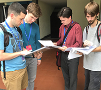 The U.S. team placed second in the 2017 World Puzzle Championship. Pictured from left to right are Will Blatt, Walker Anderson, Thomas Snyder, and Palmer Mebane.