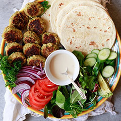 falafel, flat bread, vegetables