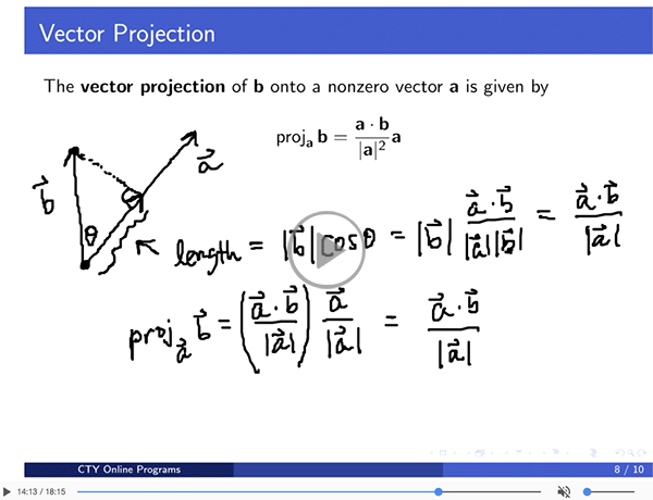 Vector projection video sample