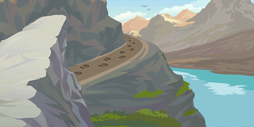 mountains, trail with footprints cartoon