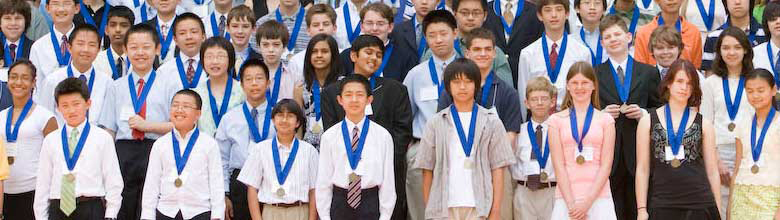 Group of SET students wearing award medals.