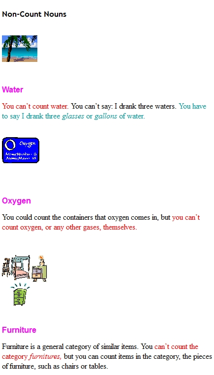 Shows Non-Count Nouns: water, oxygen, and furniture